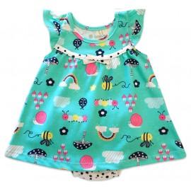 Vestido Bebê com Calcinha Brandili Verão Jardim Encantado Verde Menina RN-P-M-G