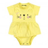 Vestido Body para Bebê Gatinho Amarelo Menina Brandili RN P M