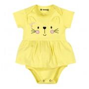 Vestido Body para Bebê Gatinho Amarelo Menina Brandili M