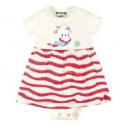 Vestido Body para Bebê Listrado Foca Menina Brandili Cru e Rosa RN P M