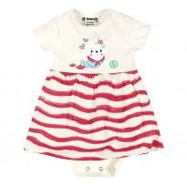Vestido Body para Bebê Listrado Foca Menina Brandili Cru e Rosa RN e P