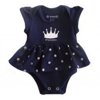 Vestido Body para Bebê Princesa Menina Brandili Azul Marinho RN e GG