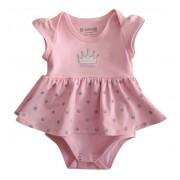 Vestido Body para Bebê Princesa Menina Brandili Rosa M 6-9 meses