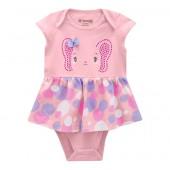 Vestido Body Para Bebê Verão Brandili Bolinhas Coloridas Elefante Menina P-M-G