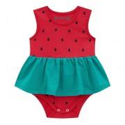 Vestido Body Para Bebê Brandili Verão Vermelho Melancia Menina P-M-G