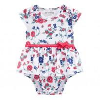 Vestido Body Para Bebê Verão Branco Floral Vermelho Brandili Menina RN-P-M-G