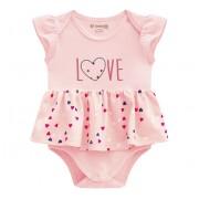 Vestido Body Para Bebê Verão Rosa Coração Brandili Menina RN-P-M-G
