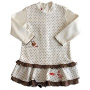Vestido Infantil Bolinhas Marrons Chicco 15 Meses