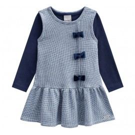 Vestido Infantil Salopete Xadrez Azul Marinho e Blusa Manga Longa Menina Mundi