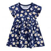 Vestido Bebê Floral Azul Marinho Manga Curta Menina Brandili M/G