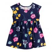 Vestido Bebê Floral Azul Marinho Verão Brandili Menina P-M-G