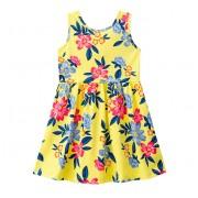 Vestido Infantil Amarelo Floral Cavado Brandili Menina 4 6 e 8 Anos
