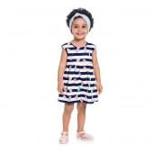 Vestido Infantil Verão Listrado Sorvetinhos Azul Marinho Brandili Menina 1-3 Anos