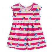Vestido Bebê Verão Listrado Sorvetinhos Pink Brandili Menina P-M-G