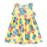 Vestido Bebê Floral Joaninhas Amarelo Menina Brandili P 3-6 Meses