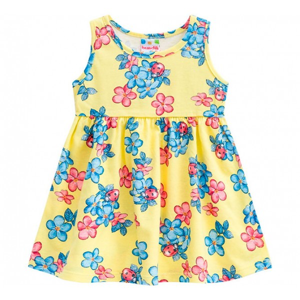 Vestido Infantil Floral Joaninhas Amarelo Menina Brandili 3 Anos