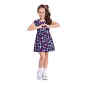 Vestido Infantil Verão Corações Azul Marinho Menina Brandili 4-8 Anos