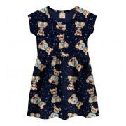 Vestido Infantil Verão Azul Marinho Ursinhos Brandili Menina 4-8 Anos