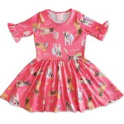 Vestido Infantil Rosa Cachorrinhos Serelepe Kids 1 Ano Menina