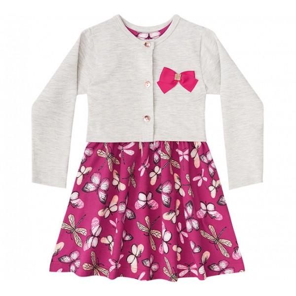 Vestido Infantil Borboletas com Casaquinho