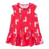 Vestido Infantil Estampa Lhama e Cactus Brandili Vermelho 8 Anos Menina