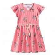 Vestido Infantil Listrado Estampa Lhama Brandili Manga Curta com Cinto 6 e 8 Anos Menina