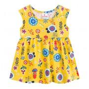 Vestido Infantil Verão Floral Amarelo Menina Brandili 1 Ano