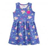 Vestido Infantil Verão Maçã Floral Azul Menina Brandili 1  Ano