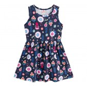 Vestido Infantil Verão Floral Azul Marinho Menina Brandili 4-8 Anos