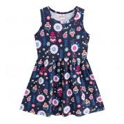 Vestido Infantil Verão Floral Azul Marinho Menina Brandili 4 Anos