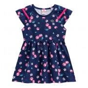 Vestido Infantil Floral Cerejinhas Brandili Azul Marinho 2 Anos