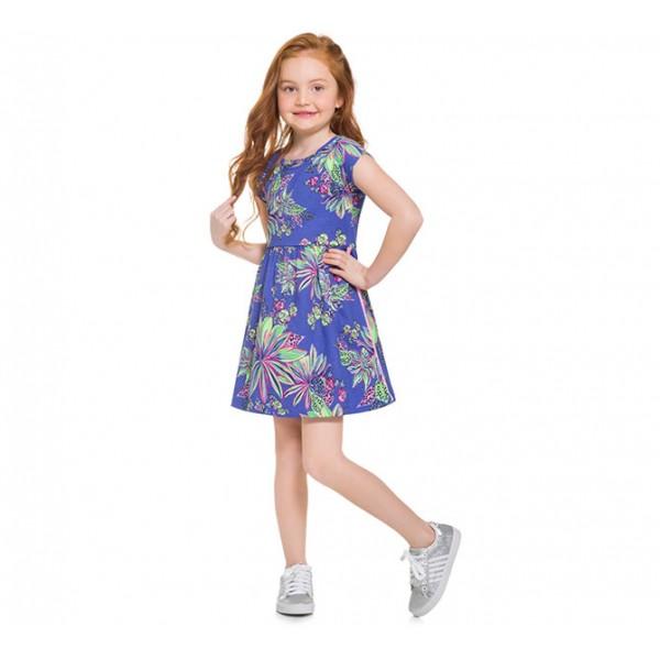 Vestido Infantil Verão Floral Esportivo Rosa Menina Brandili 4 Anos
