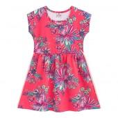 Vestido Infantil Verão Floral Esportivo Rosa Menina Brandili 4-8 Anos