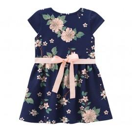Vestido Infantil Floral Azul Marinho e Rosê Mundi 2 Anos