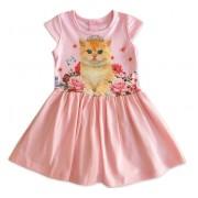 Vestido Infantil Gatinha Princesa com Saia de Tule