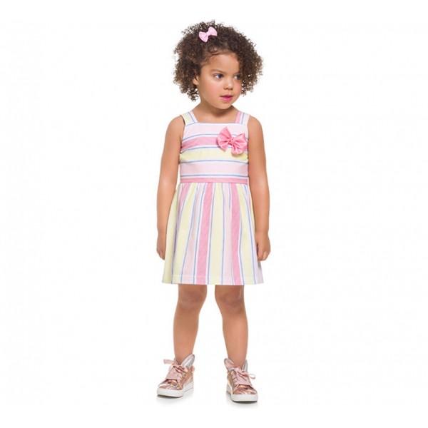 Vestido Infantil Alça Listrado Rosa Azul Amarelo Laço Menina Brandili 1-3 Anos