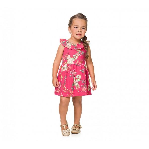 Vestido Infantil Floral Gatinhos Brandili 1 Ano Menina