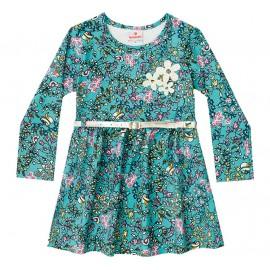 Vestido Infantil Floral Passarinho Brandili 3 Anos Menina