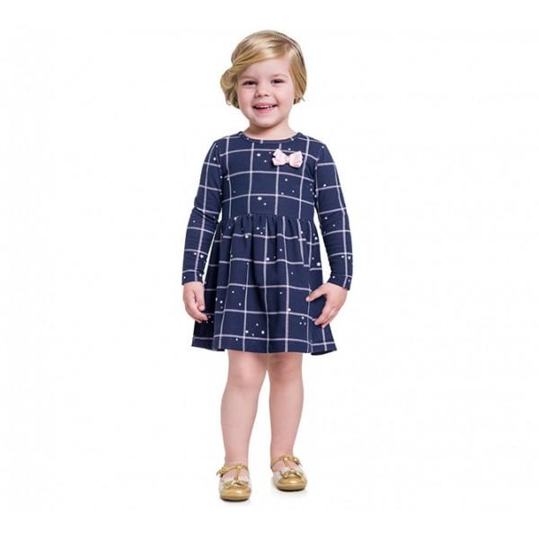 Vestido Infantil Manga Longa Xadrez Brandili