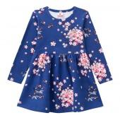 Vestido Infantil Brandili Manga Longa Floral Azul