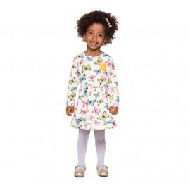 Vestido Infantil Brandili Manga Longa Borboletas Coloridas Menina