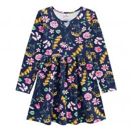 Vestido Infantil Manga Longa Floral Azul Marinho Brandili Menina