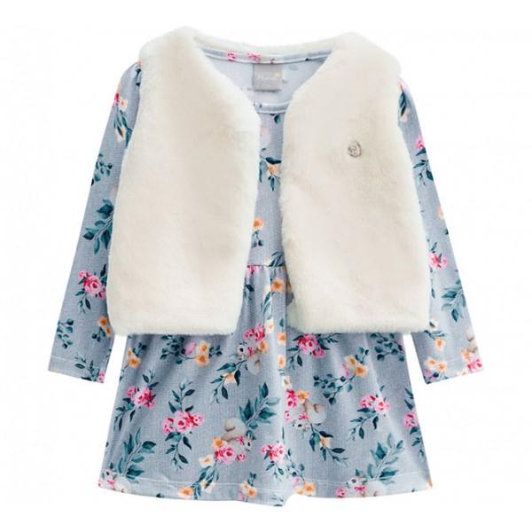 Vestido Infantil Floral Manga Longa com Colete de Pelo Sintético Menina Mundi 2 Anos