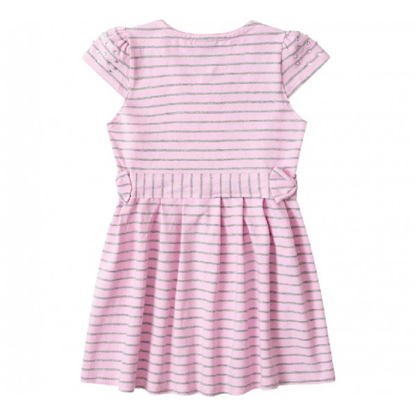 Vestido Infantil Rosa e Cinza