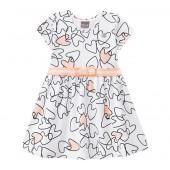 Vestido Infantil Mundi Branco e Rosê Corações Menina 3 Anos