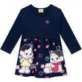 Vestido Infantil Turma da Mônica Manga Longa Brandili Menina 1-3 Anos