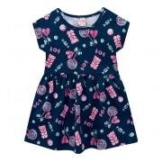 Vestido Infantil Verão Azul Marinho Ursinho Jelly Bear Brandili Menina 4-8 Anos
