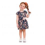 Vestido Infantil Verão Floral Ursinhos Brandili Menina 1-3 Anos