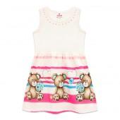 Vestido Infantil Verão Barrado Ursinhos Brandili Menina 1-3 Anos