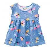 Vestido Infantil Azul Borboletas Brandili 1 Ano Menina